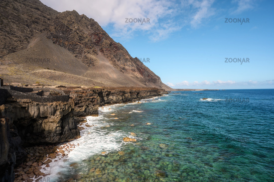 Lava coast in El Hierro island, Canary Islands, Spain. El Golfo, biosphere reserve.