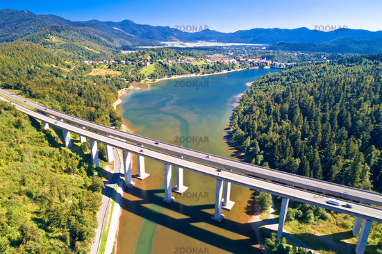 Viaduct Bajer above idyllic lake and town of Fuzine aerial view