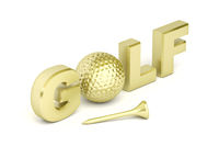 Text golf with golden ball and tee