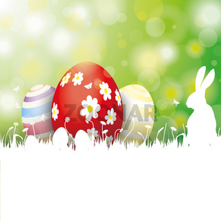 Easter Card 3 Eggs White Grass Rabbit