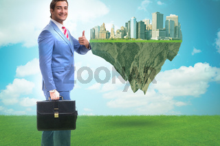Green energy anc ecology concept with businessman