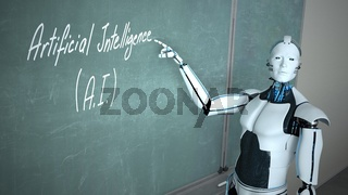 Humanoid Robot School Board Artificial Intelligence