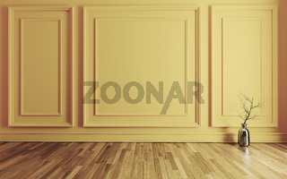 Empty room with Modern classic yellow wall triple panels and wooden floor realistic 3D rendering