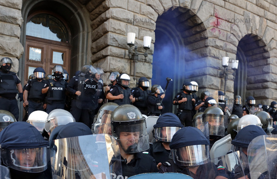 Police officers anti-government protest