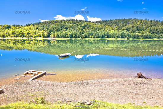 Bajer lake beach in Fuzine view