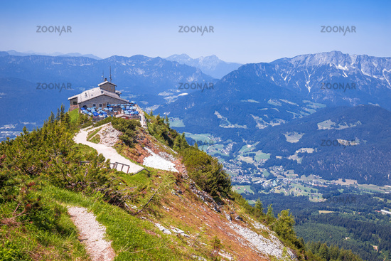 Eagle's Nest or Kehlsteinhaus hideout on the rock above Alpine landscape view