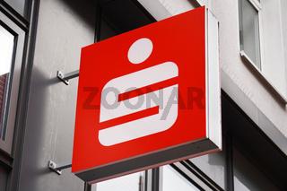 Close-up sign with Sparkasse logo - German savings bank