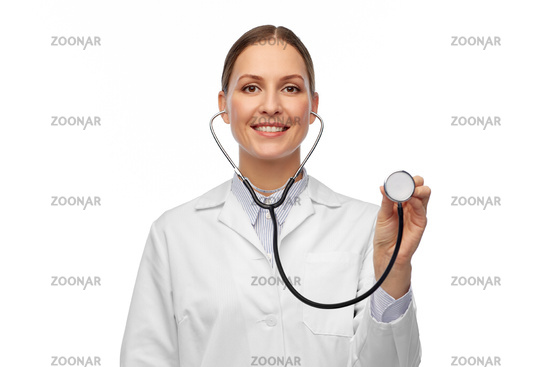 happy smiling female doctor with stethoscope