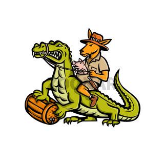 Kangaroo Riding Crocodile Mascot