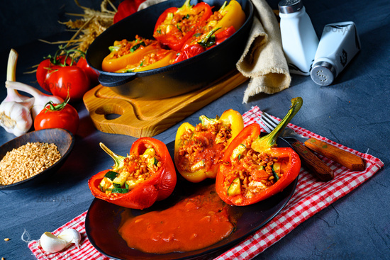 Peppers with spelled, sheep's cheese filling