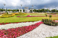 Meadows with decorative flowers at the territory of the All-Russian exhibition center (VDNKH)