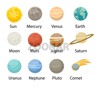Planet solar system icons flat style. Planets collection with sun, mercury, mars, earth, uranium, neptune, mars, pluto, venus. Children's educational vector illustration