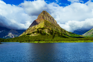 0000316 Clouds over Swiftcurrent Lake's Grinnell Point at Glacier National Park Montana 5043