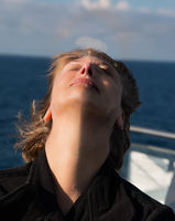 Woman on boat portrait