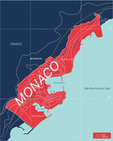 Monaco country detailed editable map