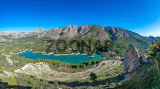 Panoramic view of Guadalest reservoir in Alicante, Spain