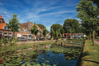 Canal with aquatic plants and brick houses in Weesp