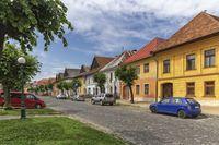 Historical street in Kezmarok city, Slovakia
