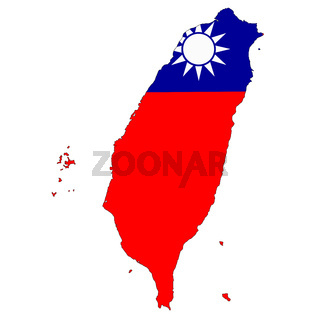 Taiwan map on white background with clipping path