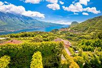 Garda lake west coast cliffs and Pieve village view