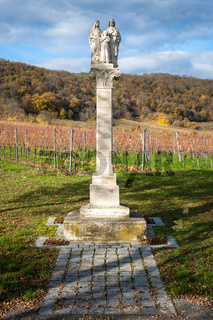 Statue with holy family on top at Donnerskirchen in Burgenland