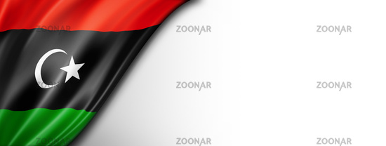 Libyan flag isolated on white banner