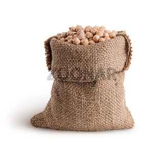 Dry chickpeas in a sack