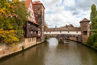 Pegnitz river in Nuremberg, Bavaria, Germany