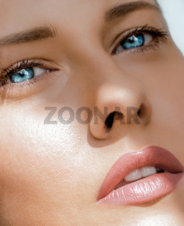 Beauty face portrait of a young woman, luxury makeup and skincare cosmetics
