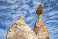 Fairy Chimneys rock formations in Pasabag or Monks Valley, Cappadocia, Turkey.