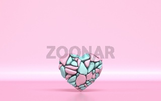 Broken heart made of pink and green pieces 3D