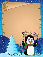 Penguin and Christmas lights parchment 1