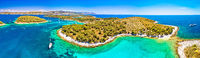 Pakleni otoci yachting destination arcipelago aerial panoramic view, Marinkovac island