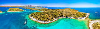Pakleni otoci yachting destination arcipelago aerial panoramic view, Marinkovac island
