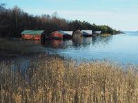 Boathouses on the island of Vardö, Aland