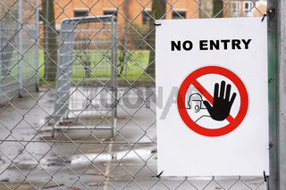 Closed sports ground with no entry sign