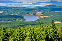 Aerial view of the Ecker reservoir in the highland area Harz, Lower Saxony, Germany