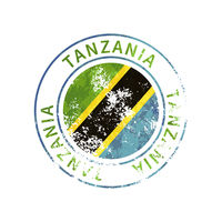 Tanzania sign, vintage grunge imprint with flag on white