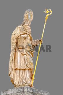 Skulptur des Heiligen Blasius mit grauen Hintergrund