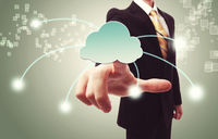 Businessman pushing cloud icon