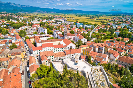 Town of Sinj in Dalmatia hinterland aerial view