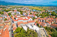 Town of Sinj in Dalmatia hinterland aerial view