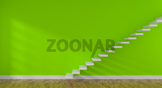 Bright green room with stairs and space for text or image