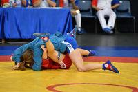 Orenburg, Russia - 29 October 2016: Girls compete in Sambo in the Championship of Russia in Sambo am