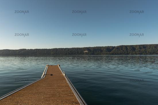 Wooden jetty in Sipplingen on Lake Constance, Baden-Wuerttemberg, Germany