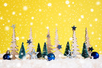 Christmas Tree, Snowflakes, Blue Star, Ball, Copy Space, Yellow Background