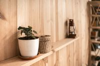 White pot with ivy plant and wicker box on wooden shelf. Retro lantern on blurred background. Wooden wallpaper panels. High quality photo