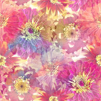Seamless floral design with zinnia flowers for background