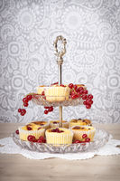 Etagere with curd muffin