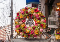 Beautiful wreath of flowers and moss